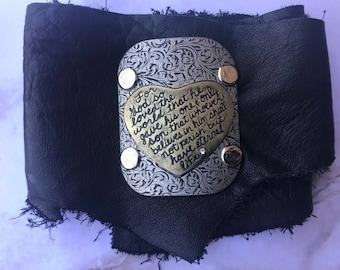 Genuine Leather Bible Verse Christian Scripture Metal Wrap Bracelet
