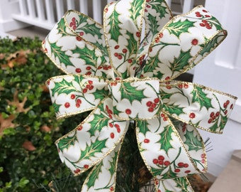 Small Christmas Tree Topper Bow with Long Tails - Holly Berry Ribbon