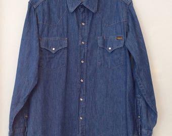 1980s Mens Denim Shirt Roebucks Work Shirt