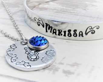 Personalised Mermaid Gift Set Pendant Necklace and Cuff Bangle, Siren of the Sea, Mermaid Necklace, Mermaid Jewellery, Childrens Jewelry
