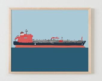 Fine Art Print.  Tanker Ship.  April 13, 2016.