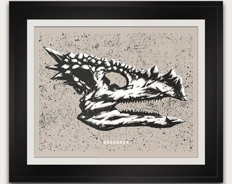 Dracorex - Cretaceous - Dinosaur Fossil Skull - Paleontology - 14x11 Inches - Open Edition - Signed - Handmade Screenprint Poster Art