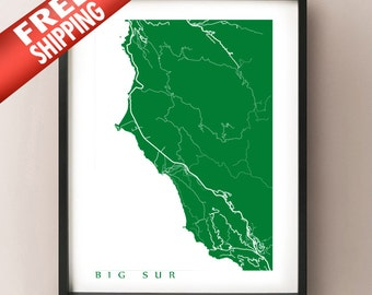 Big Sur Map Print - California Poster