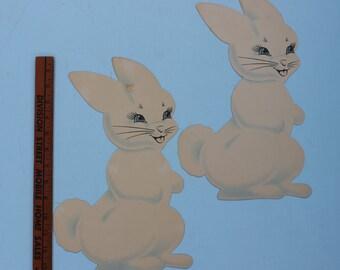 Vintage Cardboard Die Cut Easter Dennison Darling White Bunny, ONE