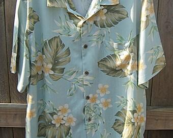 Vintage Hawaiian, Caribbean Floral Shirt, XL Shirt, Short Sleeve, Pastel Flowers , Blue Background, Pocket Set In Pattern, Silk And Rayon