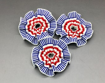 Red White and Blue Patriotic Cocardes Cockades Applique Military Reenactment Set of Three
