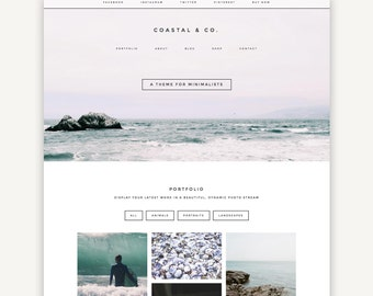 Responsive Wordpress Theme | Coastal | Portfolio, Blog and eCommerce Design | Self-Hosted WordPress.org | Genesis Child Theme