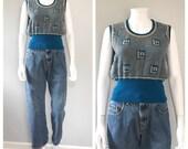 Vintage 70s blue knit swe...