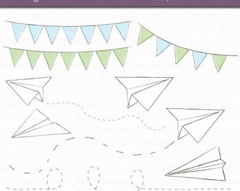 Paper Airplane Clipart Digital Art Set INSTANT DOWNLOAD Paper Clipart Airplane Clipart Bunting Clipart