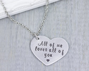 Personalized Jewelry - Hand Stamped Jewelry - Girlfriend Gift - Gift For Wife - Anniversary Gift for Her - Personalized Heart Necklace