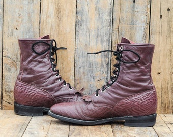 Lacer Boots 1980s Boots Leather boots, Ankle Boots Justin boots Eu 42 boots 1990s boots 1970s boots Bull Hide Burgundy Boots cowboy boots