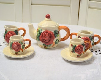 Vintage Miniature Teaset Red Rose Teapot Doll Tea Party Set Ceramic  Youngs 1997 Small Mini Display PanchosPorch