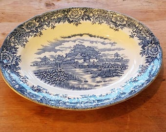 "Salem China Co English Village Staffordshire Blue/White Oval Plate 12"" Inches"
