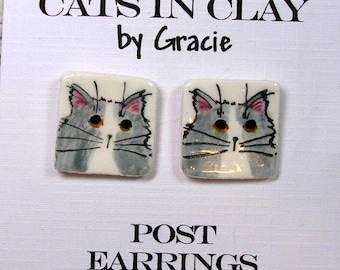 Fluffy Grey & White Cat Post Earrings Handmade In Kiln Fired Clay by Gracie