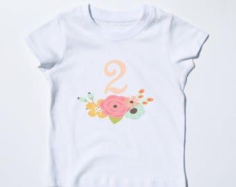 Second Birthday Shirt, GIrl's Birthday Tshirt, 2nd Birthday Shirt, Floral Tshirt, Pink and White Tee, Toddler Birthday Gift, 2 Year Birthday