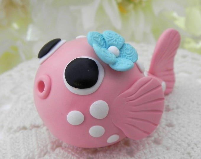 Baby Puffer Fish Cake Topper, Coral and Aqua, Birthday or Baby Shower, Keepsake, Nursery Decor