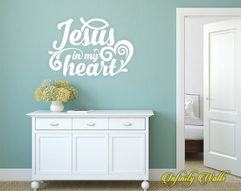 Jesus In My Heart Wall Decal - Religious Wall decal quote - Home Decor - Inspirational Quote Decal - Motivational Decals - Jesus Christian