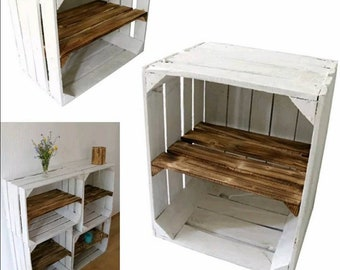 1 x White Painted Crate with Burnt wood shelf -  Wooden Apple Crates, ideal storage boxes box display crate bookshelf dresser