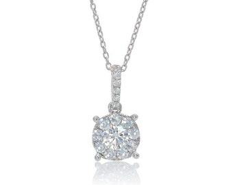 18 Karat White Gold Diamond Timeless Solitaire Anniversary Wedding Pendant