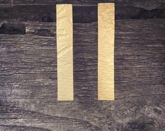 Patterned Brass Long Stud Earrings