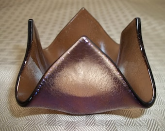 Fused Glass Iridescent Bronze Candleholder