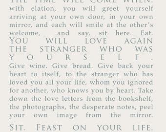 Derek Walcott poem print INSTANT DOWNLOAD - Love after Love