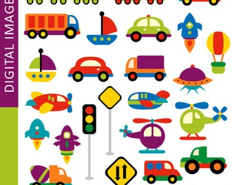 Transportation clipart commercial use / Awesome Transportation clip art / land, water, air transportation / cars, planes, rockets