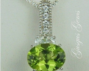 Peridot Necklace Sterling Silver 9x7mm Oval 1.95ct With Oval And Round Cz's Manchurian Peridot Natural Untreated