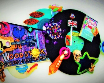 WOODSTOCK 3D Record Art, 60s Classic Rock Vinyl 1969 Music Festival Boho Hippy Psychedelic Hippies Peace Love Flower Power Cassette Weed LSD