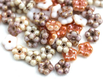 50pc Daisy flower beads MIX, Picasso beads, rustic czech glass flat 5mm daisy, spacer - 0185