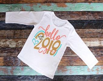 Hello 2018 Kids New Years Shirt,Girls New Years Shirt,New Years Party,Party Shirt,Ring in the New Year,2018,Happy New Year