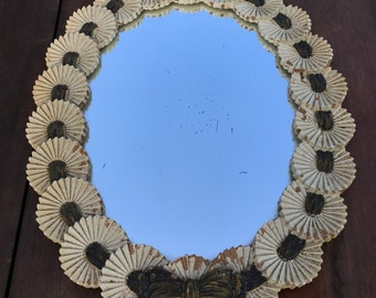 Vintage Syroco Wood Framed Mirror Syracruse NY Made In USA, Shabby Cottage Chic