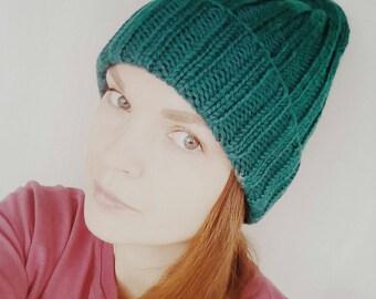 Green women hat green knit hat double brim knit hat green slouchy hat winter green hat wool women hat slouchy beanie hat slouchy knitted hat