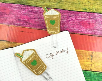 Coffe Cup Planner Clippie- paper clip- fits happy, mambi, erin condren, bullet journals- back to school gifts- teachers - felties