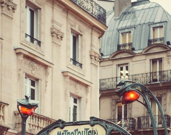 Metro Sign, Paris Photography, Paris Wall Art, Art Nouveau Architecture Print, Paris Print, Vintage Guimard - Metropolitain