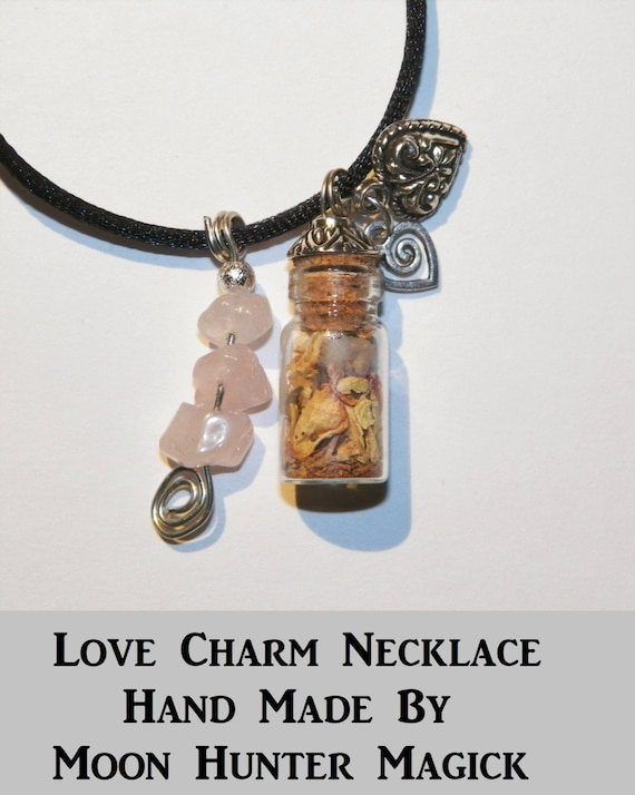 Love Charm Bottle Necklace Pagan Wicca Reiki Ritual Love Amulet