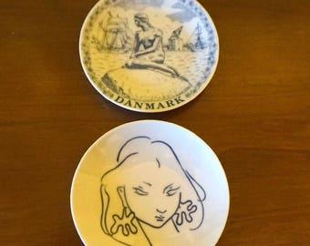 "Royal Copenhagen,Denmark; Small Souvenir Plates; Set of Two; Approx. 4.5"" Lovely !!!"