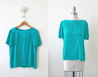 1980s vintage teal green blue green silky stripe short sleeve top blouse shirt m L