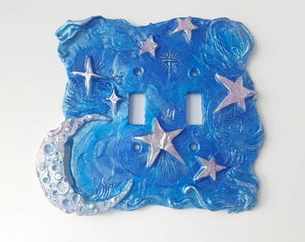 Sweet Dreams Double Switchplate in Blue Shimmer. Celestial Moon and star switch cover, double switch plate