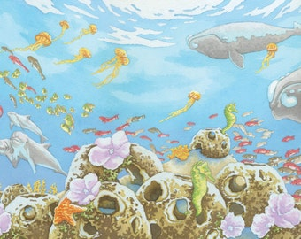 The Mermaid in Rehoboth Bay: Ocean Scene, Fine Art Print