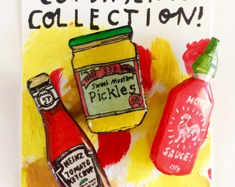 Wearable Art Brooch: Condiments Collection Set