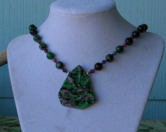 Ruby in Zoisite Necklace w Pendant
