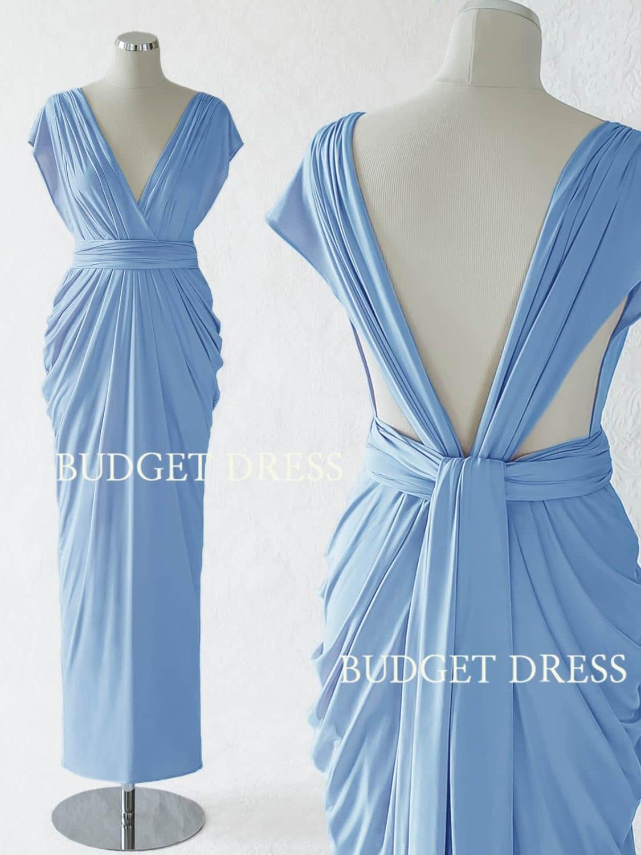 Cornflower Blue Convertible Dress Maxi Convertible Bridesmaid