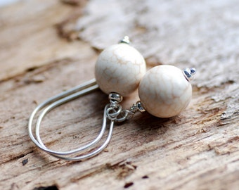 White Turquoise Earrings, Ivory Earrings, Stone Earrings, Elegant Earrings, Semi Precious Stone Jewelry, Casual Wedding - Traveller