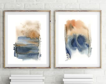 Abstract Art Prints Set, Set of 2 fine art prints, minimalist abstract prints, watercolor painting prints, modern wall art prints set