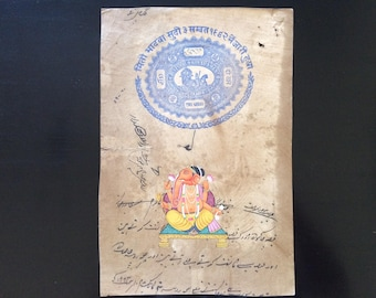 Vintage Jaipur Government Ledgers Embellished with Traditional India Miniature Paintings