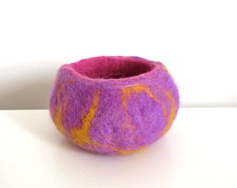 Pink and Purple Funky Felt Bowl