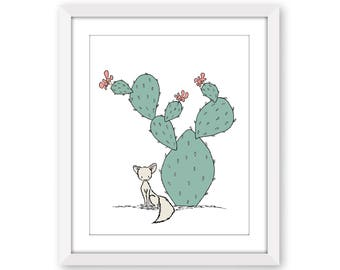 Cactus Nursery Art -- Southwest Fox -- Nursery Art -- Kids Wall Art -- Childrens Art -- Cactus Art -- Nursery Decor -- Fox Nursery Art