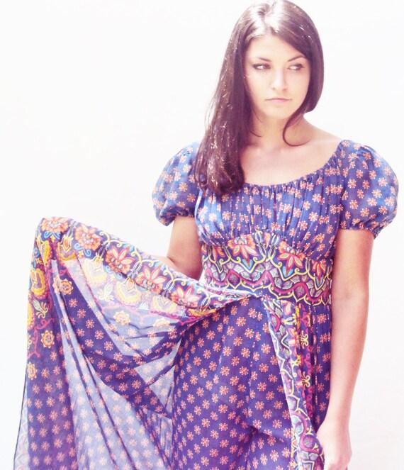 Vintage 70s Indian cotton Hippie Jumpsuit Harem Pants Split Skirt Blue Cotton Paisley Print  Adini extra small