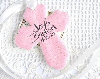 Personalized Baptism Gift Favor Cross Salt Dough Ornament